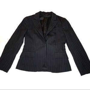 Theory Black Pinstripe Pointed Lapel One Button